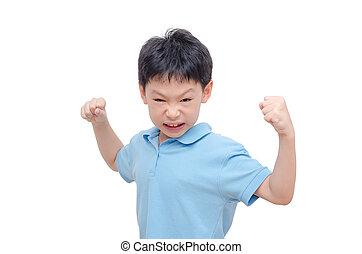 Aggressive boy over white