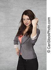 aggressive business woman