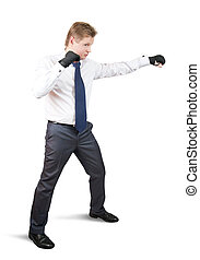 aggressive businessman boxer. Isolated over white background...