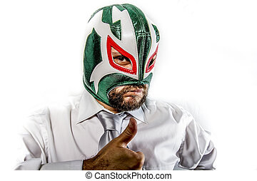 aggressive businessman with Mexican warrior mask