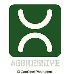 Aggressive concept icon on white flat illustration.