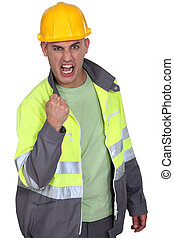 Aggressive construction worker rejoicing