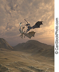 Aggressive Dragons Fighting in a Mountain Landscape