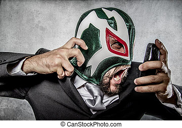 aggressive executive suit and tie, Mexican wrestler mask