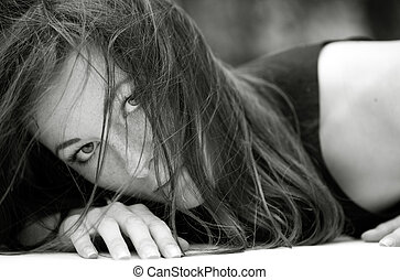aggressive female portrait. outdoor shot