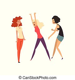 Aggressive girls quarreling and swearing, girls arguing with each other vector Illustration on a white background