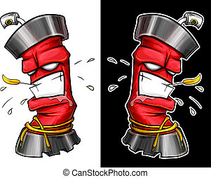 Aggressive graffiti spray. Bolonchik spray with a human face. Vector drawing.