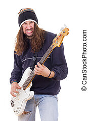 aggressive male musician playing bass guitar