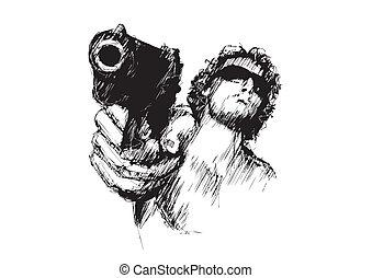 aggressive man 2 - sketching of the aggressive man