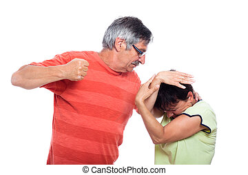 Domestic violence abuse concept, photo of aggressive man and unhappy woman, isolated on white background.