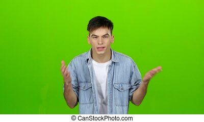 Aggressive man, he is angry at all and can not be stopped. Green screen