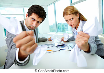 Aggressive managers - Portrait of angry employees with...