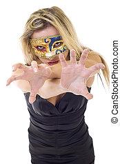 aggressive masked woman