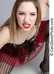 Aggressive Punk Girl - Aggressive punk girl clenching teeth