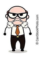 Aggressive - Retro Cartoon Office old Boss Man Vector Illustration