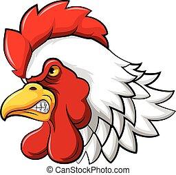 Aggressive rooster head mascot
