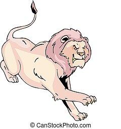 Aggressive running lion - Dangerous and terrible running...