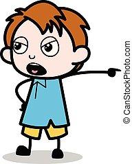 Aggressive - School Boy Cartoon Character Vector Illustration