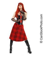 aggressive schoolgirl in black latex boots over white