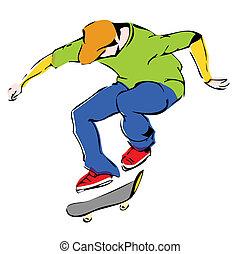 aggressive skateboarder dynamics jump