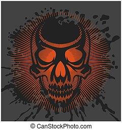 aggressive skull for motocross helmet on dark background