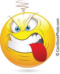 Aggressive Smiley Teasing Face - Creative Abstract...