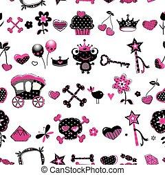 aggressive style princess seamless pattern - aggressive...
