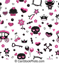 aggressive style princess seamless pattern