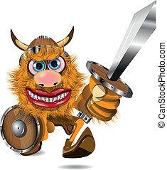 aggressive viking - illustration redhead aggressive Viking...