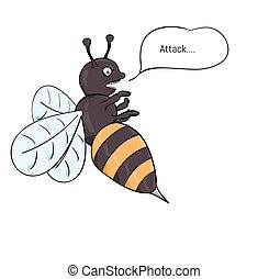 aggressive wasp attacking
