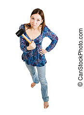 Aggressive woman holding hammer