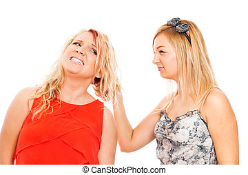 Aggressive woman pulling hair, isolated on white background.