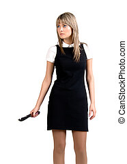 Aggressive woman with knife
