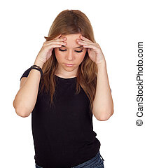 Aggressive woman with migraine