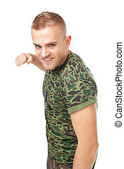 Aggressive young army soldier