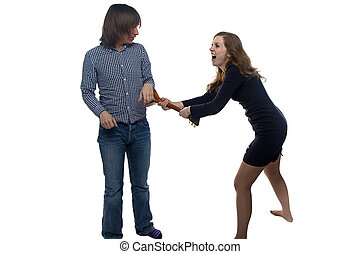 Aggressive young woman and man