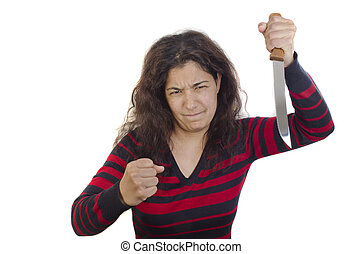 aggressive young woman with a clenched fist and a kitchen knife