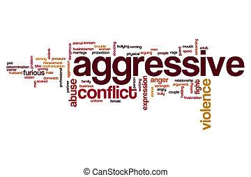 aggressivo, parola, nuvola