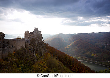 evening view of Aggstein castle ruins
