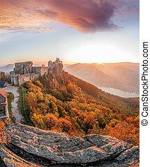 Aggstein castle with autumn forest in Wachau, Austria