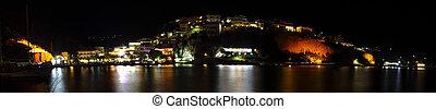Agia Galini at night - A panoramic view of the Cretan south-...
