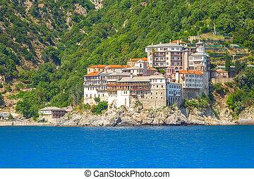 Agia Grigoriou monastery, Mount Athos, Greece - Close up ...