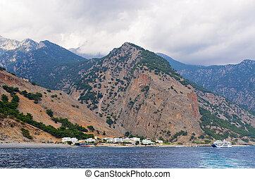 Agia Roumeli town at the end of Samaria Gorge, Crete island, Greece