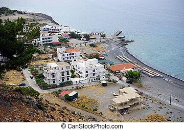 Agia Roumeli village on the south coast of Crete island, ...