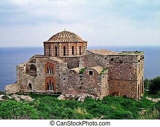 Ayia Sophia 13th century Byzantine church, at Monemvasia, Greece