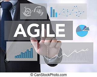Agile Agility Nimble Quick Fast Concept Businessman touching...