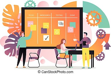 Agile vector concept for web banner, website page - Vector...