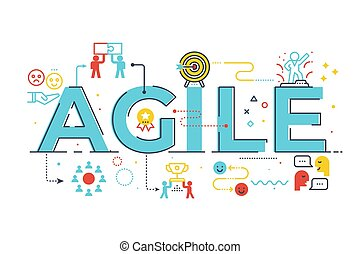 Agile word lettering illustration with icons for web banner,...