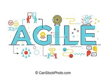 Agile word lettering illustration