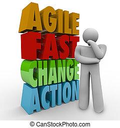 agilidad, ágil, rápido, pensador, palabras, acción, cambio